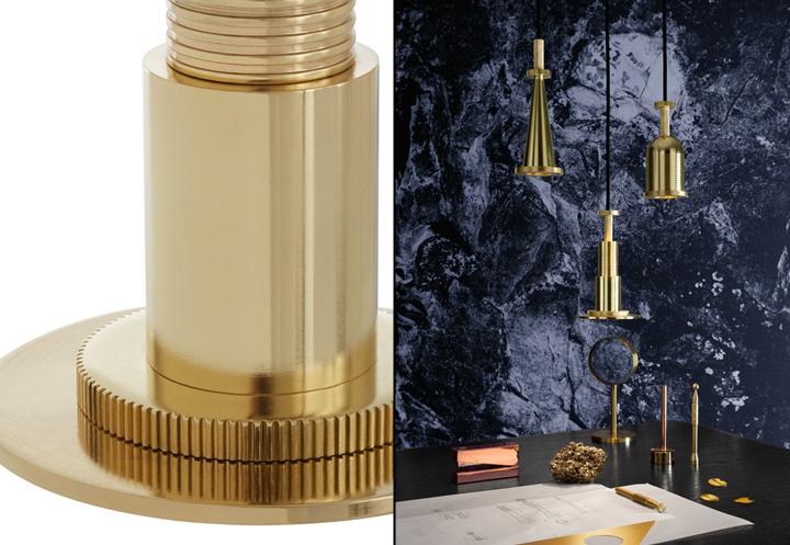 Индустриальные светильники в золотистой оправе Cog от Tom Dixon