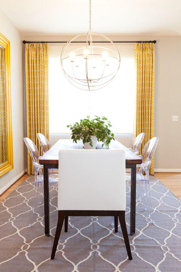 Желтые шторы в столовой