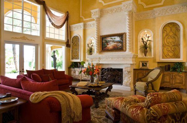 Красно-золотое оформление гостиной
