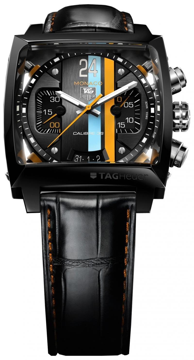 Мужские наручные часы Tag Heuer Monaco 24 в чёрном цвете