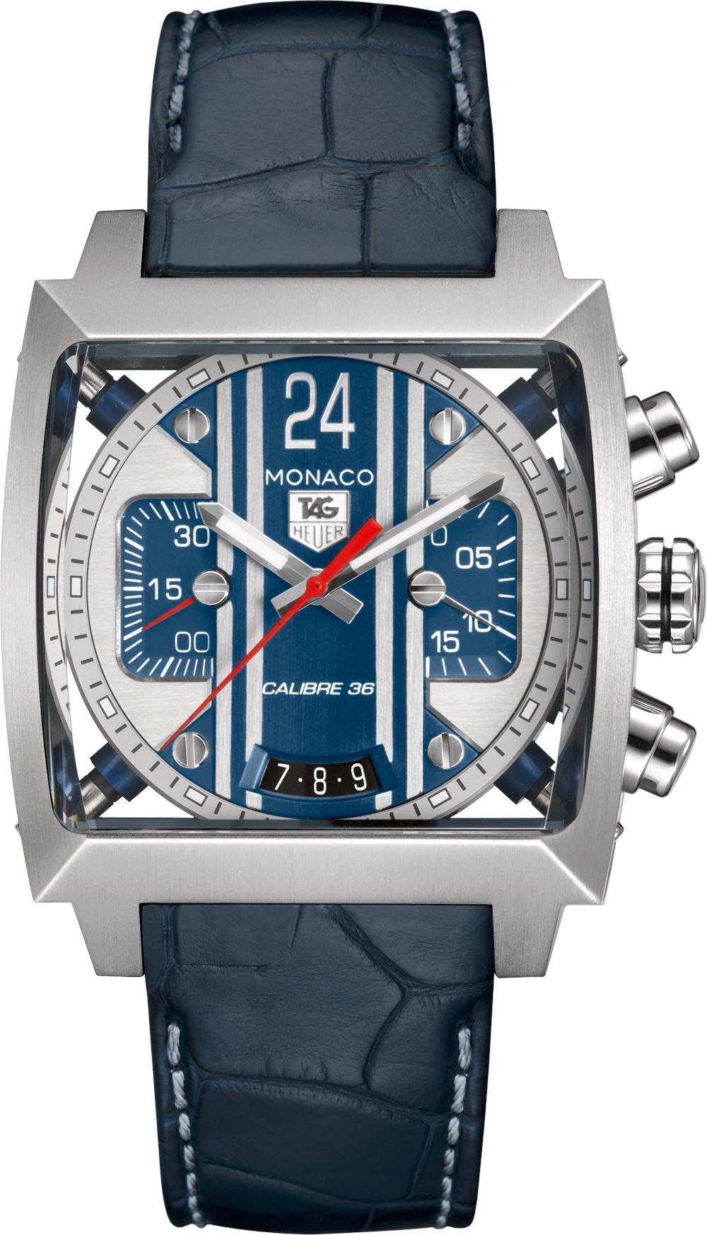 Мужские наручные часы Tag Heuer Monaco 24 в синем цвете