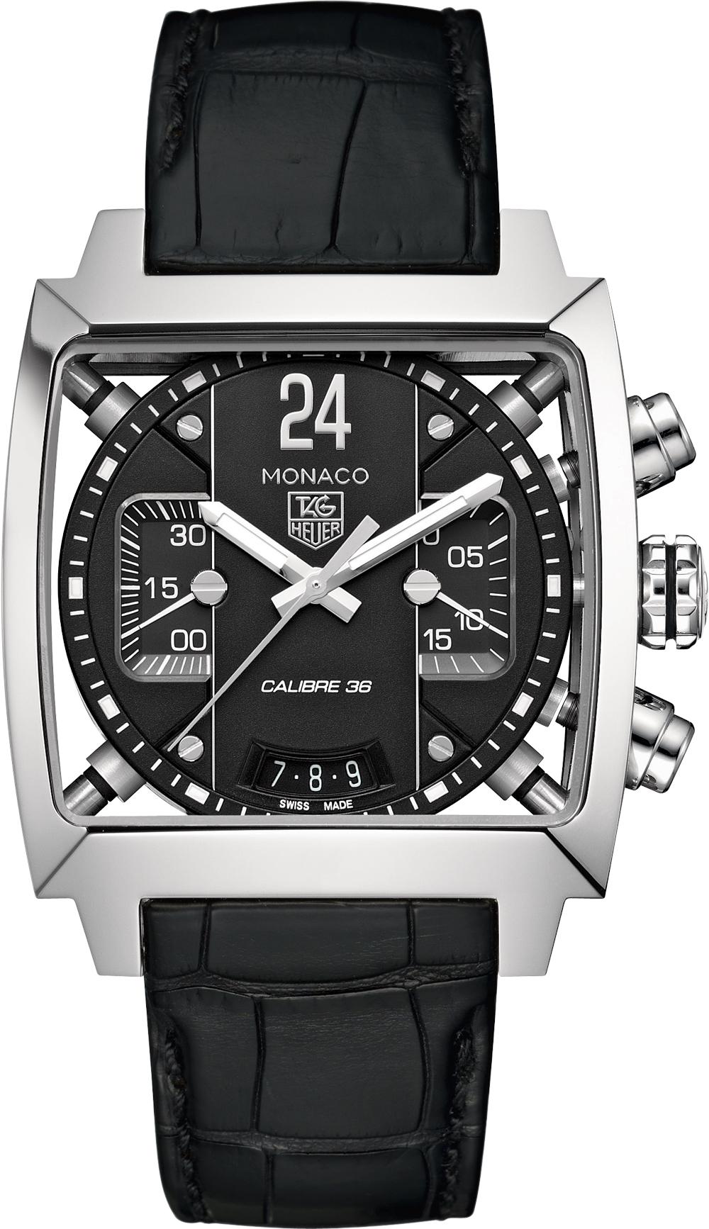 Мужские наручные часы Tag Heuer Monaco 24 в черном цвете