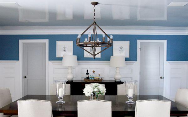 Глянцевое покрытие потолка в столовой