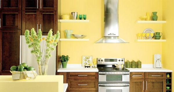Окрас стен на кухне в лимонный цвет