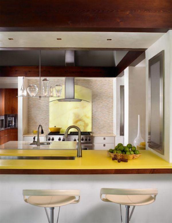 Стильная кухня с желтой столешницей