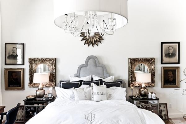 Красивая зеркальная прикроватная тумба от Two Art Directors в интерьере спальной комнаты