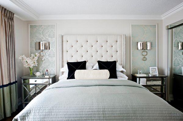 Зеркальная прикроватная тумба от от Q. Design в интерьере спальной комнаты