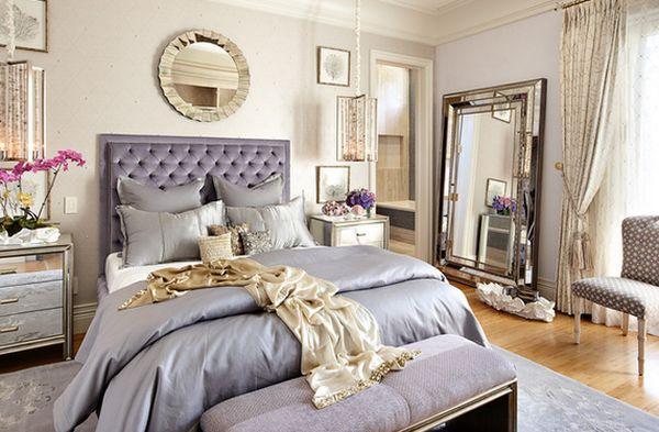 Уникальная зеркальная прикроватная тумба от Tara Dudley Interiors в интерьере спальной комнаты