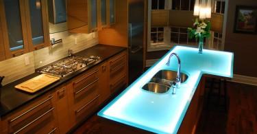 Неоновая подсветка в интерьере кухни
