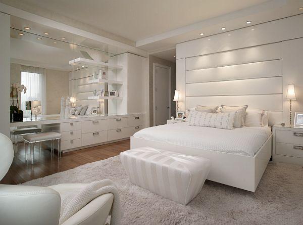 Белоснежное оформление спальной комнаты