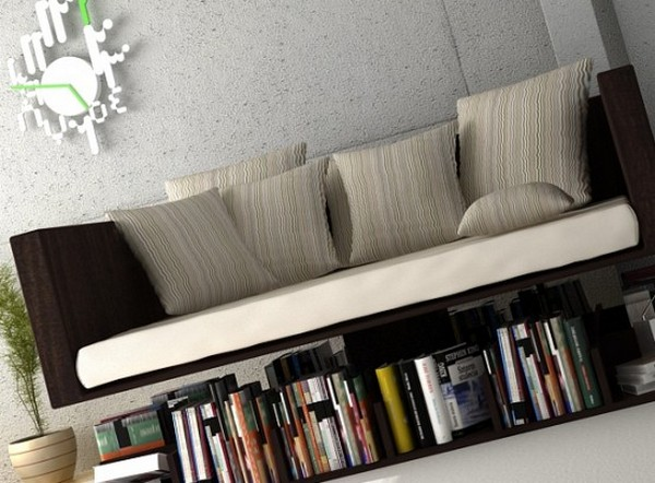 Креативная софа Rensa с полками для книг