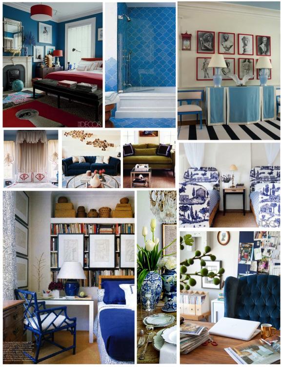 Современный синий дизайн интерьера