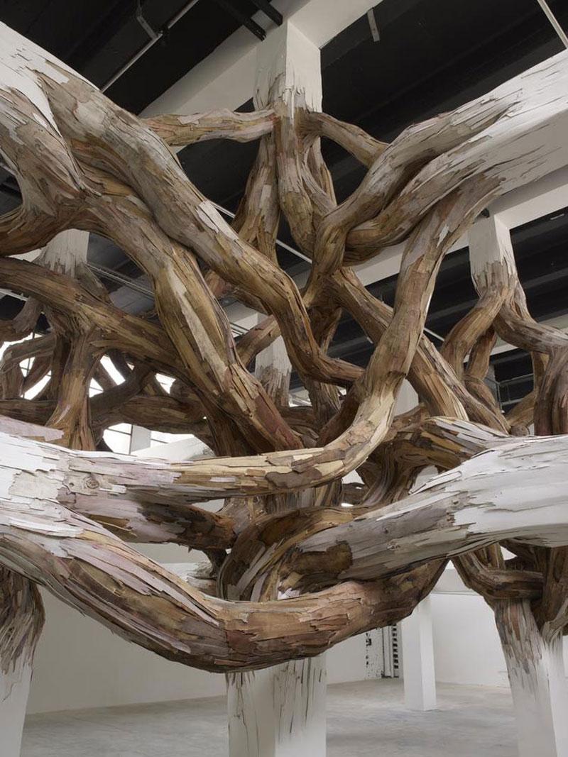 Древесные ветки словно разрывают величественные перекрытия из бетона