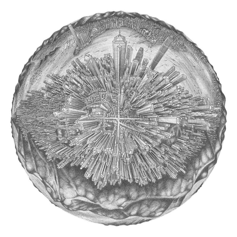 Amer TendToTravel: знаковые города в рисунках на лунной сфере