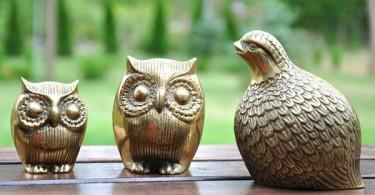 Коллекция золотых декоративных птиц