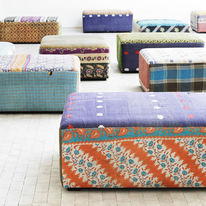 Poof under the rectangular shape and bright vintage colors