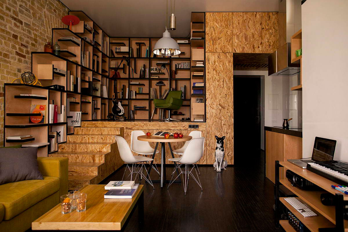 Уникальный песочный и черный цвет в интерьере маленькой квартиры