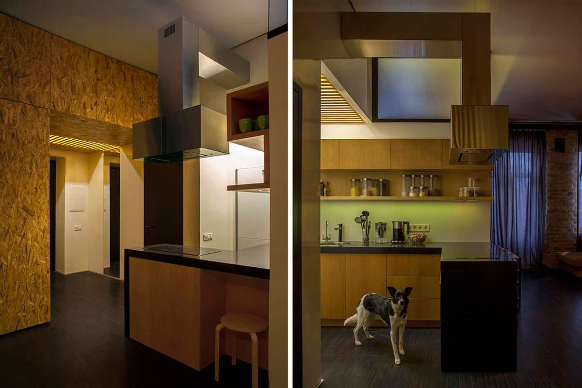 Яркий песочный и черный цвет в интерьере маленькой квартиры