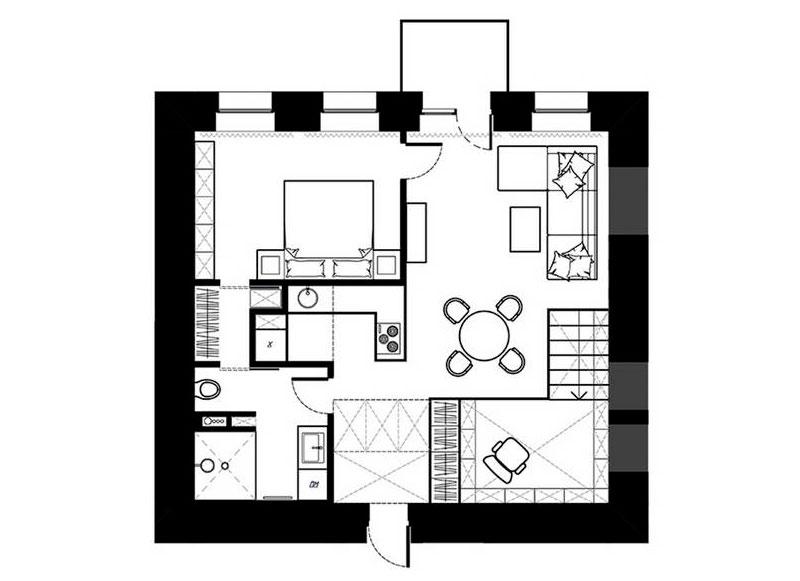 Песочный и черный цвет в интерьере маленькой квартиры