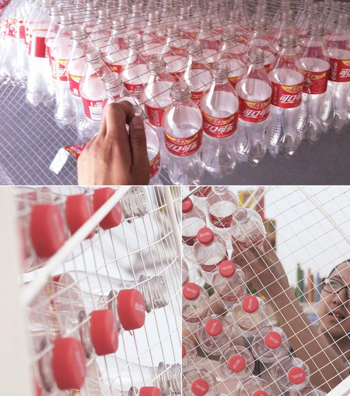 Прекрасная установка из пластмассовых бутылок Coca-Cola от Penda