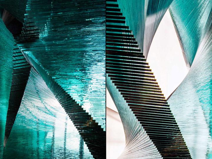 Стеклянная архитектурно-строительная установка в форме веера