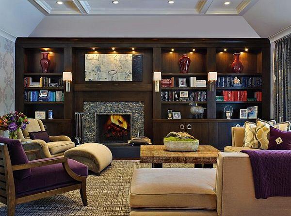Элегантная арт-деко гостиная с фиолетовыми оттенками