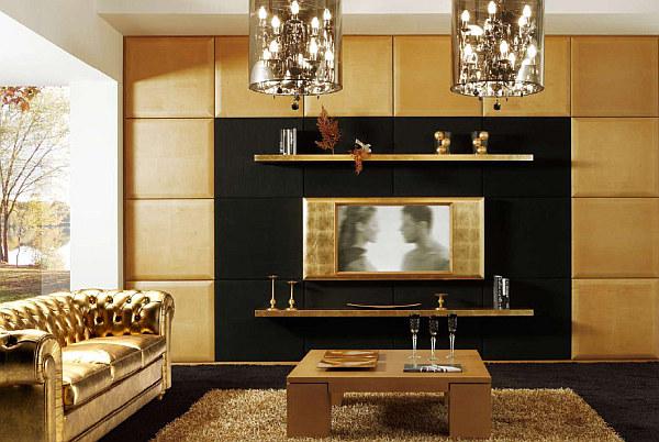 Арт-деко гостиная с золотой темой