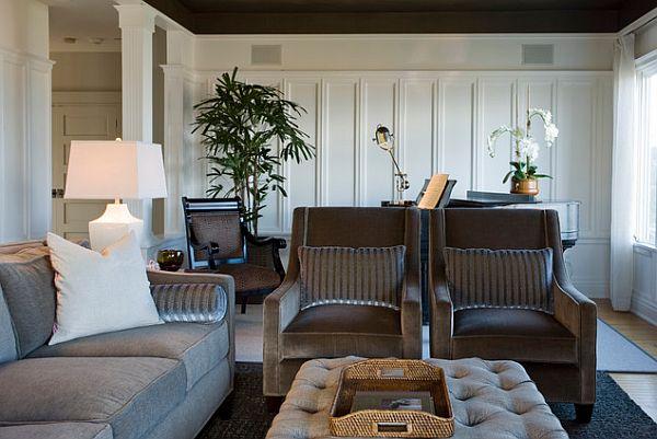 Современный и элегантный интерьер арт-деко гостиной