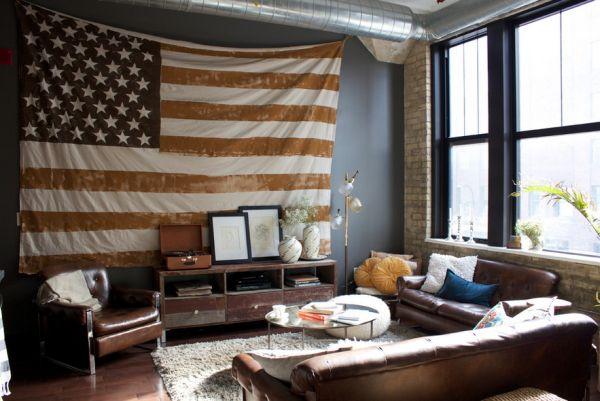Головокружительные цвета американского флага в интерьере