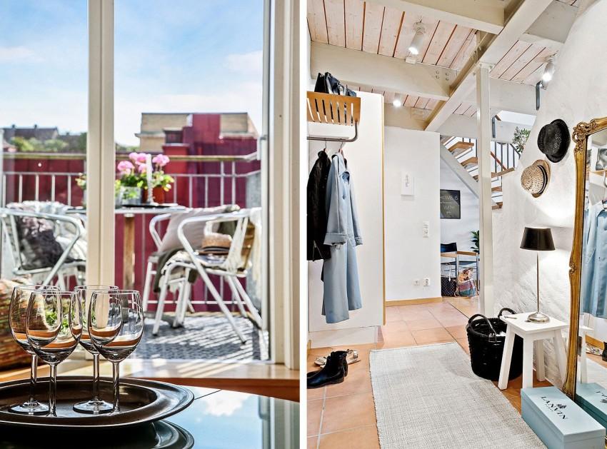 Интерьер прихожей и вид на балкон