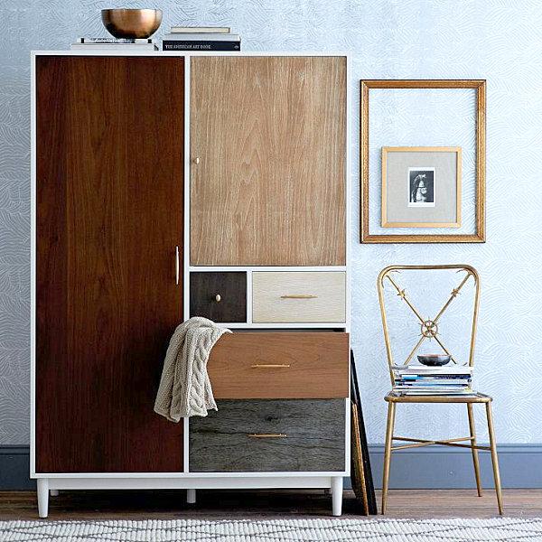 Деревянный шкаф с вариантами комбинирования цвета