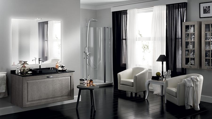 Итальянский мебельный гарнитур для ванной в сером цвете