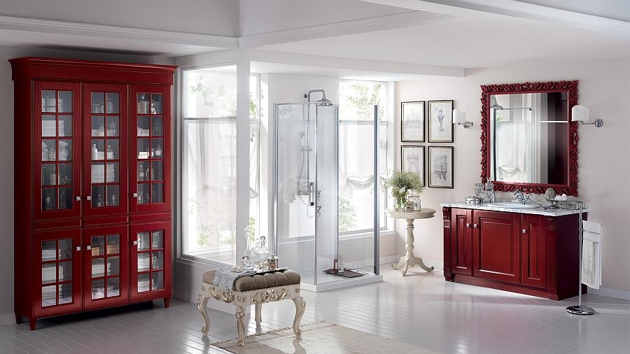 Итальянский мебельный гарнитур для ванной из красного дерева