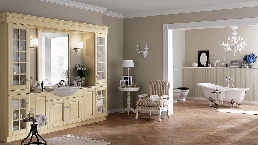 Итальянский мебельный гарнитур для ванной в светлом цвете