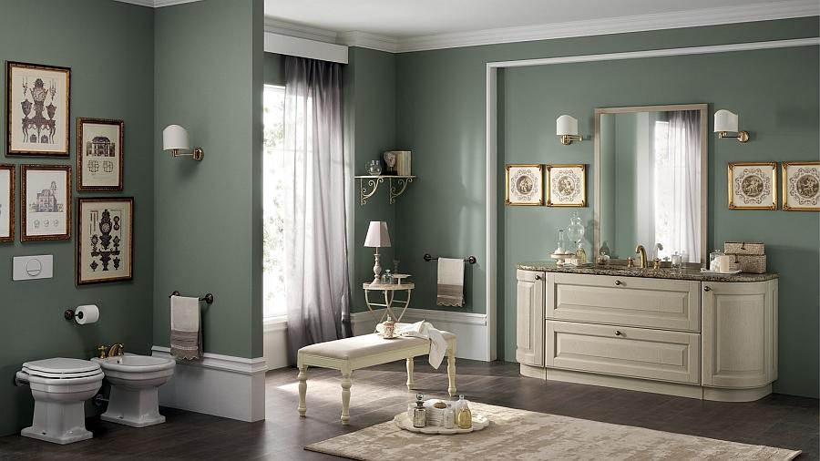 Итальянский мебельный гарнитур для ванной в кремовом цвете