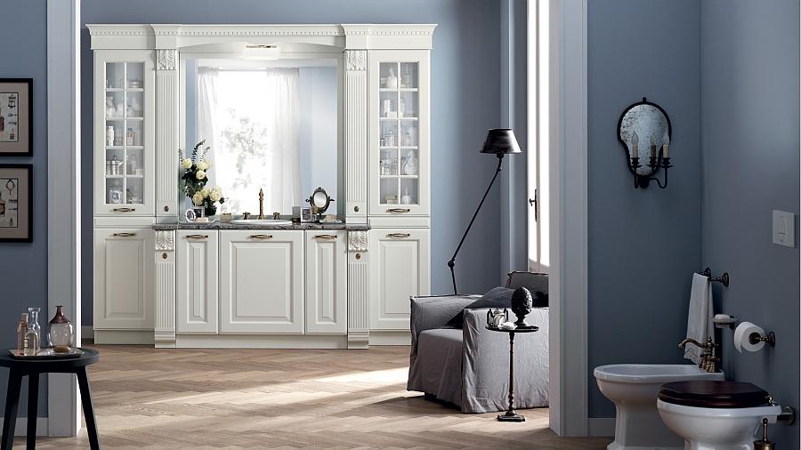 Итальянский мебельный гарнитур для ванной в белом цвете