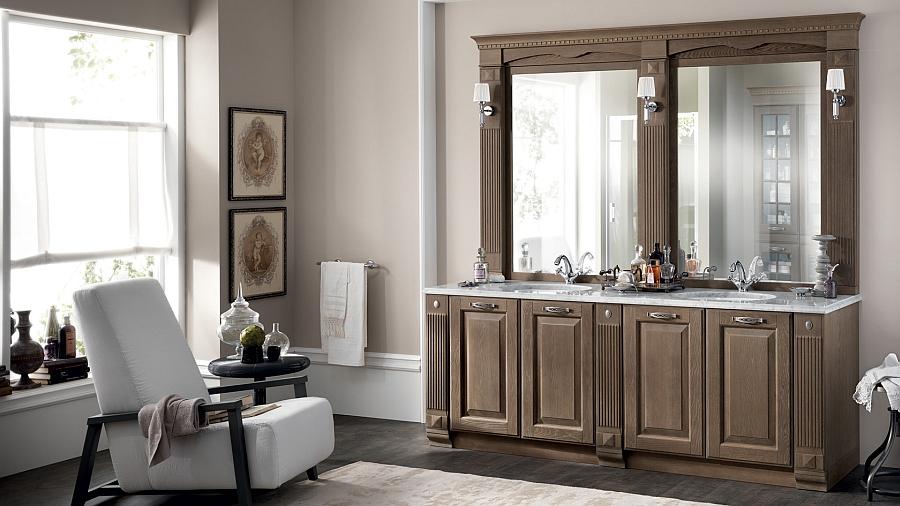 Итальянский мебельный гарнитур для ванной в бежевом цвете
