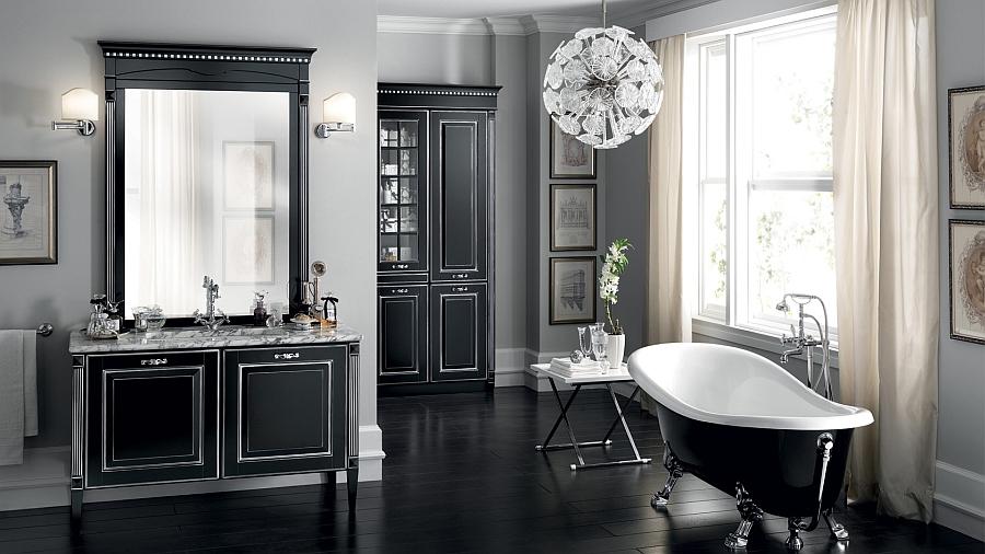 Итальянский мебельный гарнитур для ванной в чёрном цвете