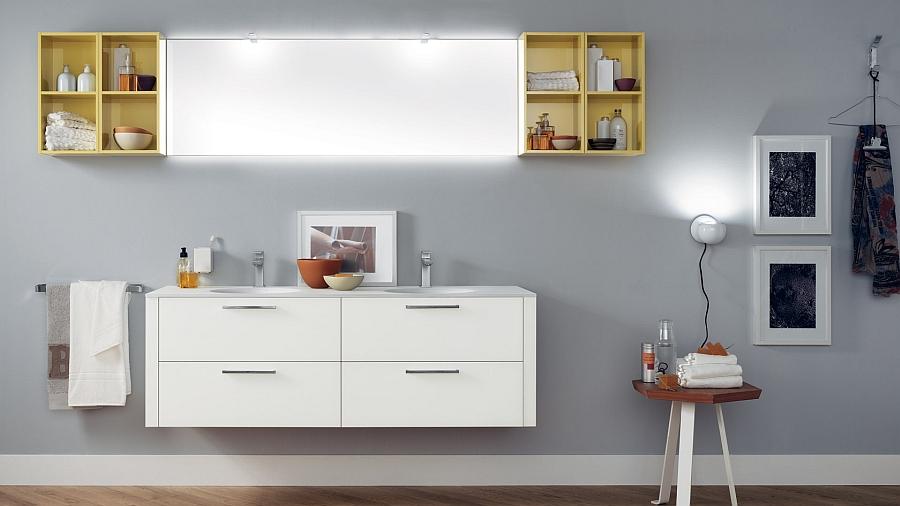 Чудесные шкафчики в интерьере ванной комнаты