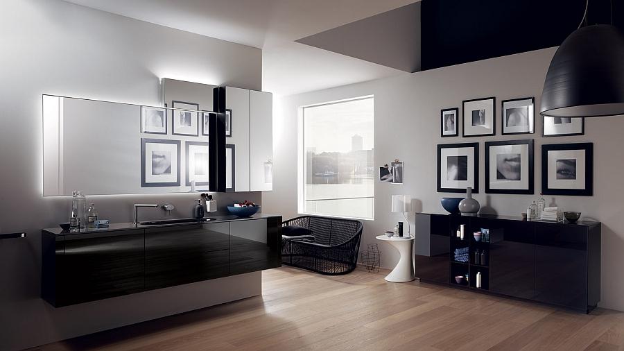Красивые шкафчики в интерьере ванной комнаты