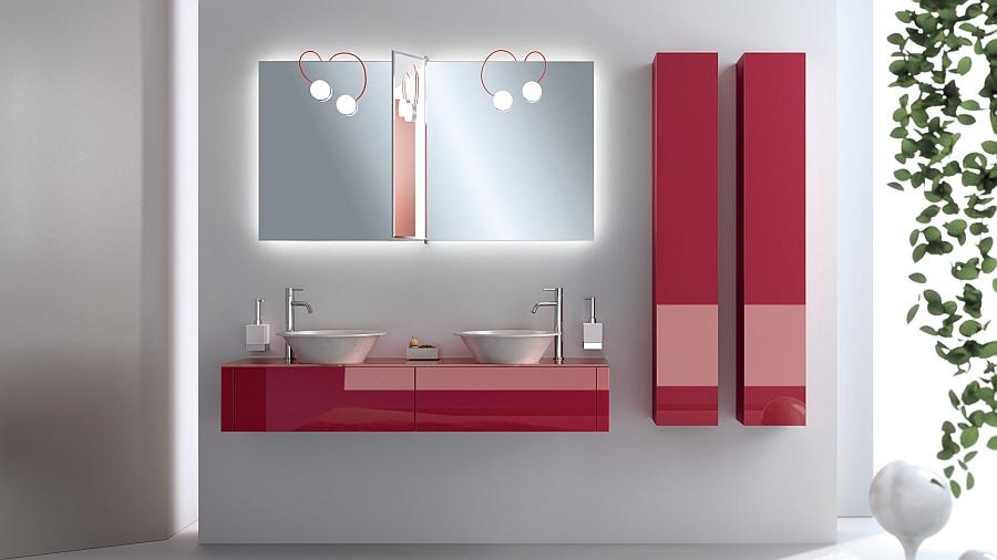 Яркие красные шкафчики в интерьере ванной комнаты
