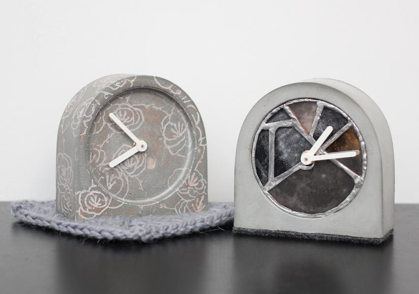 Шикарные часы из бетона для интерьера