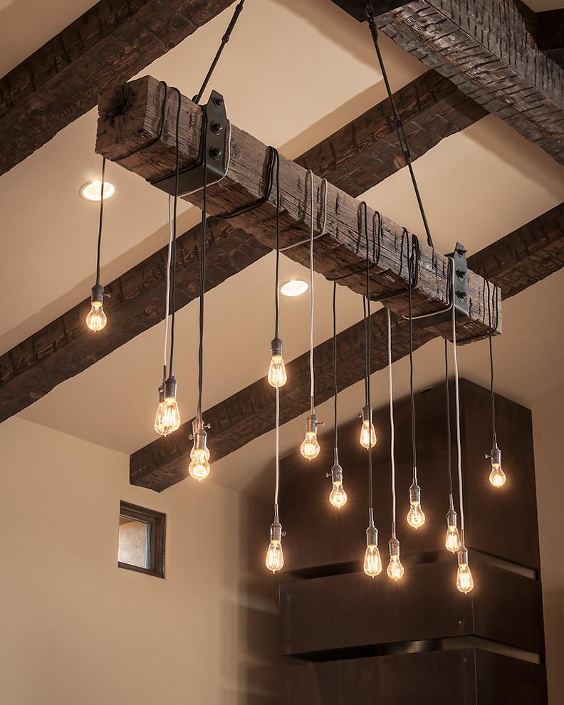 Лампочки на деревянных балках своими руками