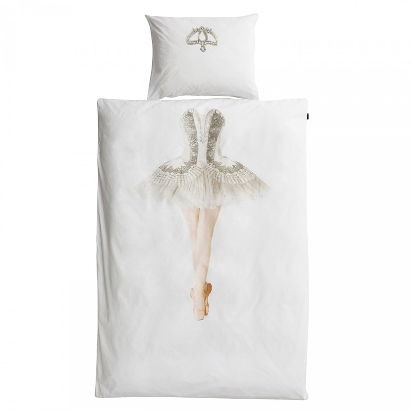 Белое постельное белье с рисунком балерины
