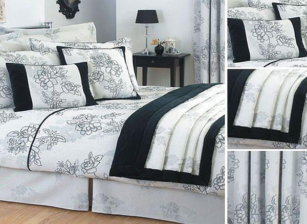 Чёрно-белый постельный комплект с цветами