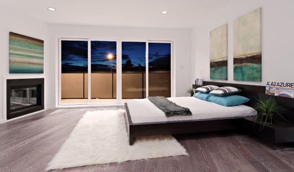 Красивое оформление спальни с камином