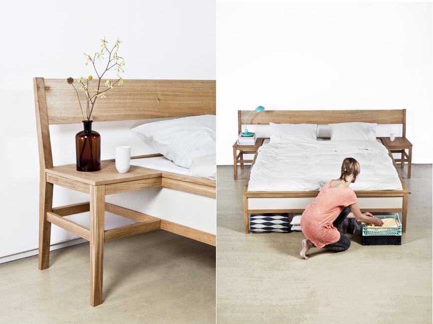 Яркая тумбочка для хранения мелочей у кровати