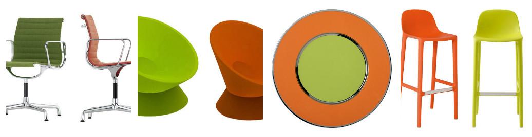 Предметы интерьера в оранжево-зеленом оттенке