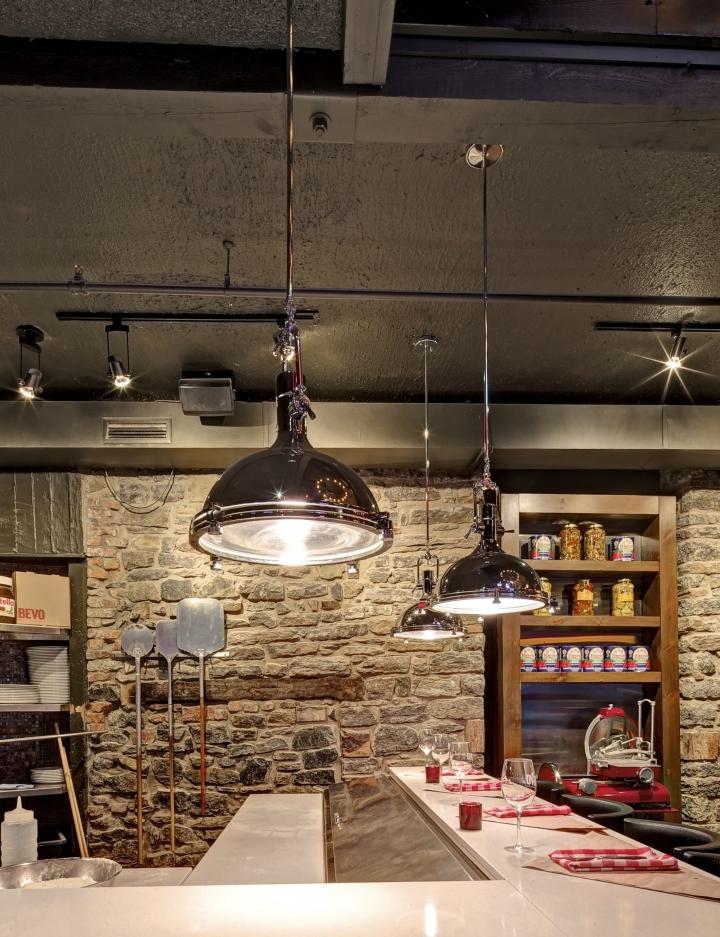 Удивительное освещение пиццерии и бара Bevo в Монреале