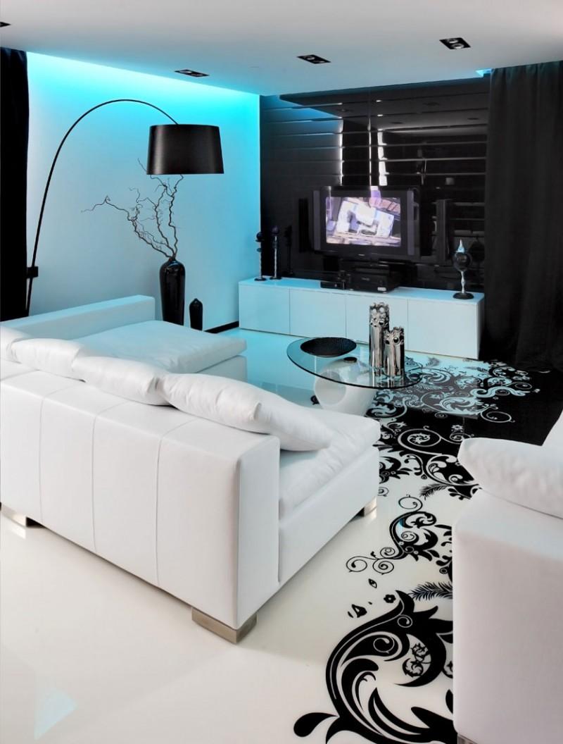 Белый мягкий уголок в гостиной